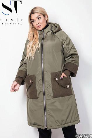 Куртка удлиненная демисезонная хаки батал размеры: 52-66, фото 2
