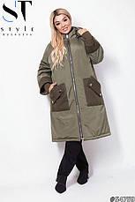 Куртка удлиненная демисезонная хаки батал размеры: 52-66, фото 3