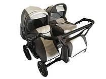 Trans baby Jumper Duo Len универсальная коляска для двойни 2 в 1 т.синий+металлик серый+металлик (Lux06/16)