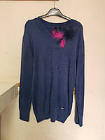 Пушистый синий  свитер с брошью 54-56-58 CNG, фото 1