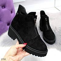 Женские зимние черные ботинки на утолщенной подошве