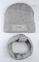 Теплый комплект из шапочки и хомута серого цвета