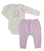 Боди и штаны для девочки (интерлок), р. 6-9 месяцев
