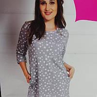 Большая женская туника - ночная сорочка для дома и сна,  рукав три четверти, карманами, размер 54-56, 58..