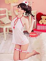 """Прозрачныйэротический игровой костюм """"Медсестра""""(костюм для ролевых игр): пеньюар, трусы, подвязки, ободок"""