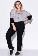 Женский комплект из брюк и джемпера серебристого цвета. Модель 23074. Размеры 50-60, фото 1