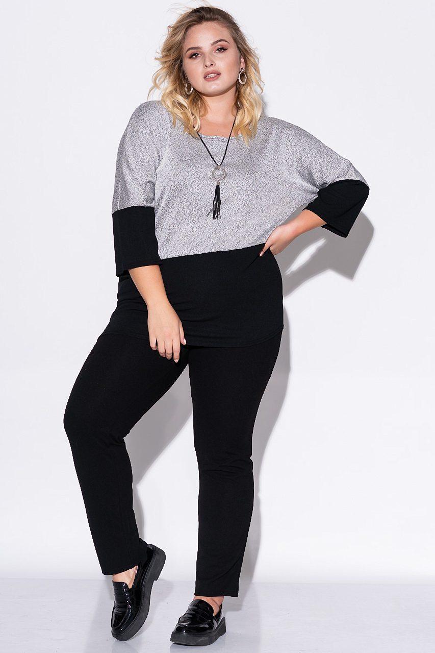 Женский комплект из брюк и джемпера серебристого цвета. Модель 23074. Размеры 50-60
