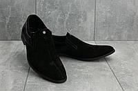 Мужские туфли замшевые весна/осень черные Slat 1802