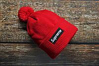 Шапка мужская Supreme с помпоном красная. Зимняя теплая шапка красного цвета цвета с бубоном. , фото 1