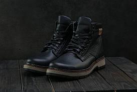 Ботинки мужские Brand Б-25 черные (натуральная кожа, зима)