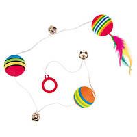 Trixie (Трикси) Rainbow Balls подвесная игрушка для кошек 3 мячика на шнурке с бубунчиками и перьями