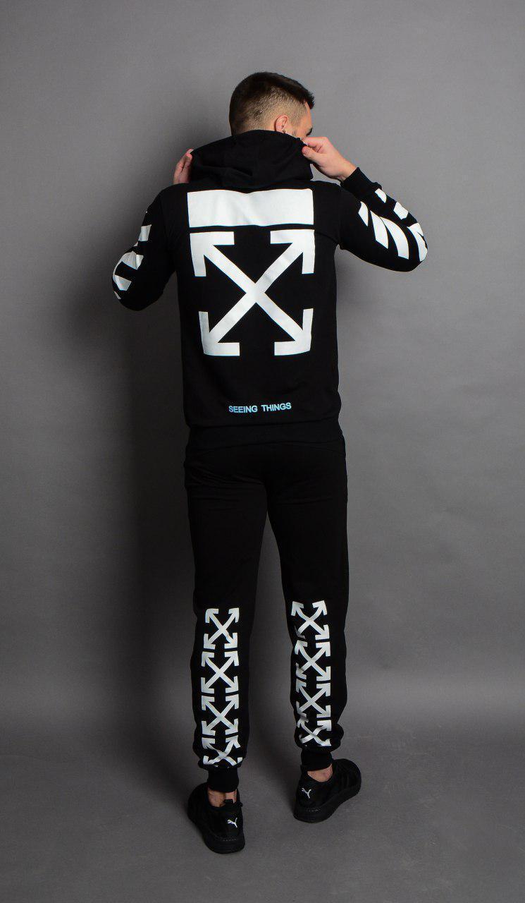 Мужской зимний спортивный костюм с капюшоном OFF WHITE крест черный