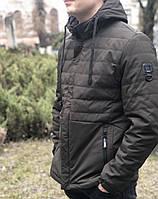 Мужская осенняя ветровка куртка демисезонная с капюшоном короткая спортивная классика