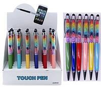 """Ручка кулькова 473 кольорові стрази """"Touch pen Сваровскі"""" поворотка, латунь, 6цветов уп24"""