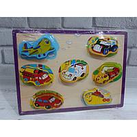 Деревянная игрушка рамка вкладыш транспорт Fun Toys MD 2102