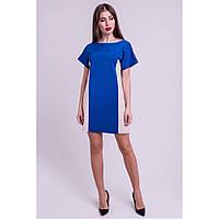Молодежное платье Эвелина свободного кроя, цвета электрик, двух-цветное
