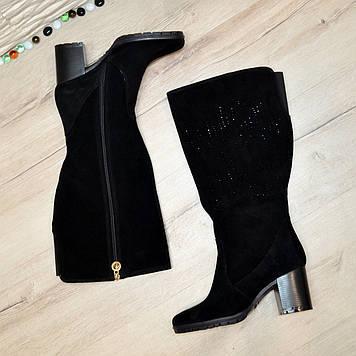Сапоги женские замшевые на устойчивом каблуке, черный цвет.