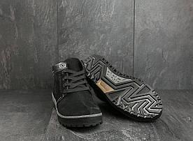 Мужские ботинки нубуковые зимние черные Norman Z158