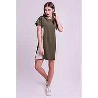 Молодежное платье Эвелина свободного кроя, цвета хаки, двух-цветное