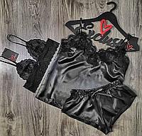 Черная пижама тройка майка+шорты+бюстгальтер.