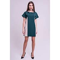 Молодежное платье Эвелина свободного кроя, цвета зеленый , двух-цветное