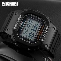 Skmei 1134 черные с белым экраном мужские спортивные часы