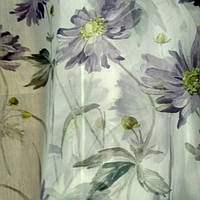 Тюль шифон сиреневые цветы