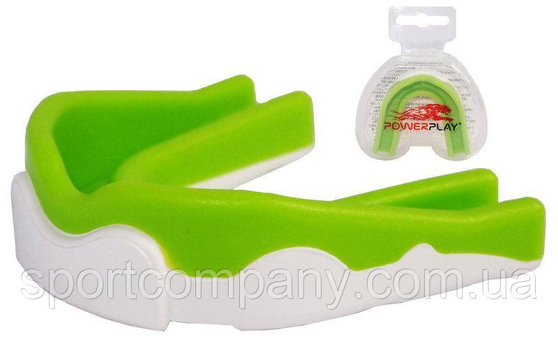 Капа боксерская Power Play 3302 (детская, бело-зеленая)