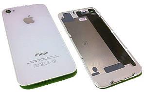 Задняя крышка для iPhone 4S Белая (стекло) полная с креплениями