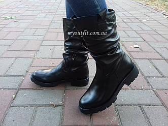 Женские зимние кожаные ботинки Чёрный Размеры 36-40