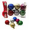 Шары новогодние набор №P-6-4 пластик матовые 4см 6шт разноцветные в пакете ящ400