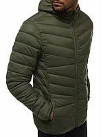 Классическая мужская куртка стеганка цвета хаки | Топ продаж