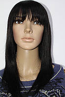 Натуральный парик черный имитация кожи головы длинная стрижка с челкой