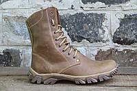 Взуття тактичне берци зимові з натуральної бежевої шкіри та хутра зимові