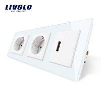 Розетка тримісна силова з заземленням і USB 2.1 А 5V Livolo колір білий скло (VL-C7C2EU1USB0-11)