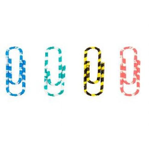 Скрепки AXENT 4114 цветные полосатые 28мм 100шт в пластик. контейнере (1/12)