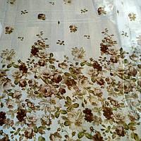 Тюль лен с бежево-коричневым узором Цветы
