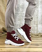 Женские ботинки 3281-1249/0 MORENTO (бордовые, натуральная замша, байка, весна/осень)