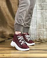 Женские ботинки 3281-1249/0 MORENTO (бордовые, натуральный сатин, байка, весна/осень)
