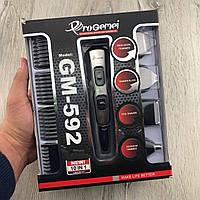 Триммер с насадками Gemei GM-592 Беспроводная аккумуляторная машинка для стрижки волос и бороды 10 в 1 Черная