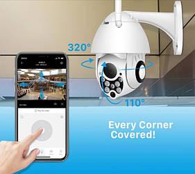 Камера Wifi  IP 1080P 4X зум 2Mп PTZ наружная уличная поворотная LED