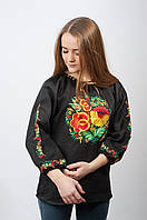 Женская вышиванка Петриковка из черного льна