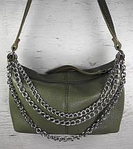 403-ц Натуральная кожа Сумка женская кросс-боди кожаная оливковая Сумка из натуральной кожи хаки сумочка кожа, фото 2