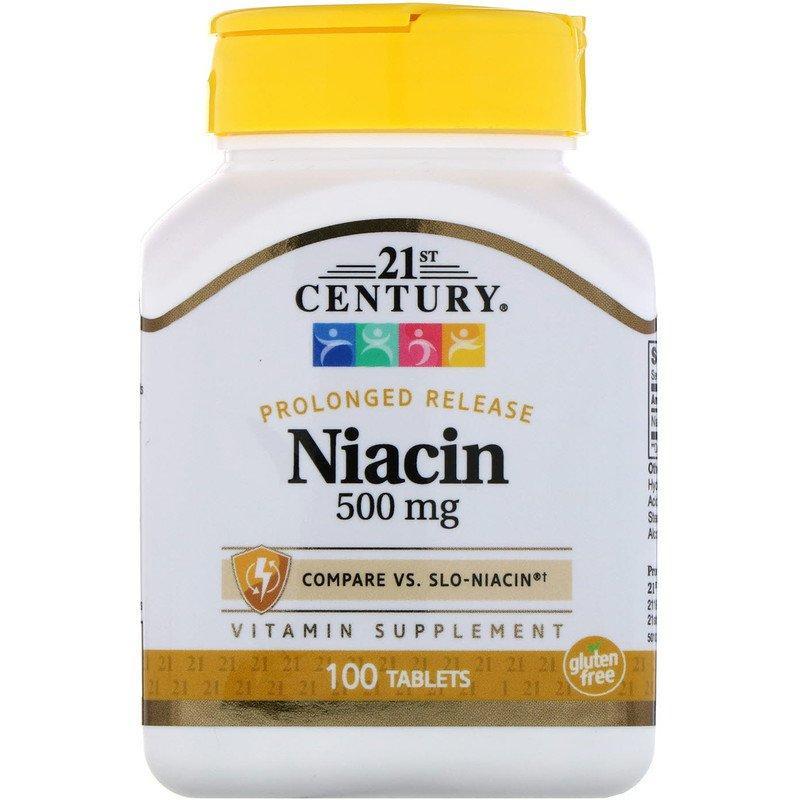 """Ниацин 21st Century """"Niacin"""" витамин В3, длительного высвобождения, 500 мг (100 таблеток)"""