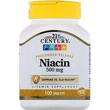 """Ніацин, 21st Century """"Niacin"""" вітамін В3, тривалого вивільнення, 500 мг (100 таблеток)"""
