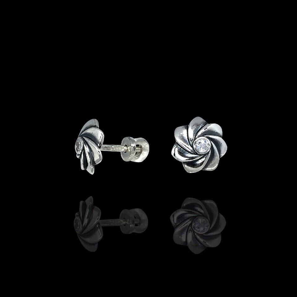 Серебряные серьги Цветочки с фианитом