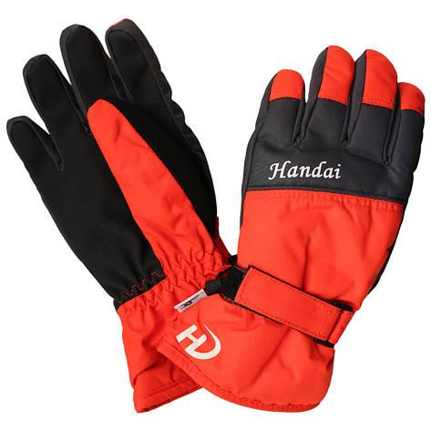 Детские зимние непромокаемые перчатки для мальчика 6-10 лет красные, фото 2