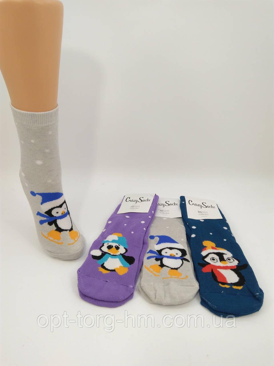 """Махровые женские носки """" PVS"""" Пингвины. Размер 35-41 обувь"""