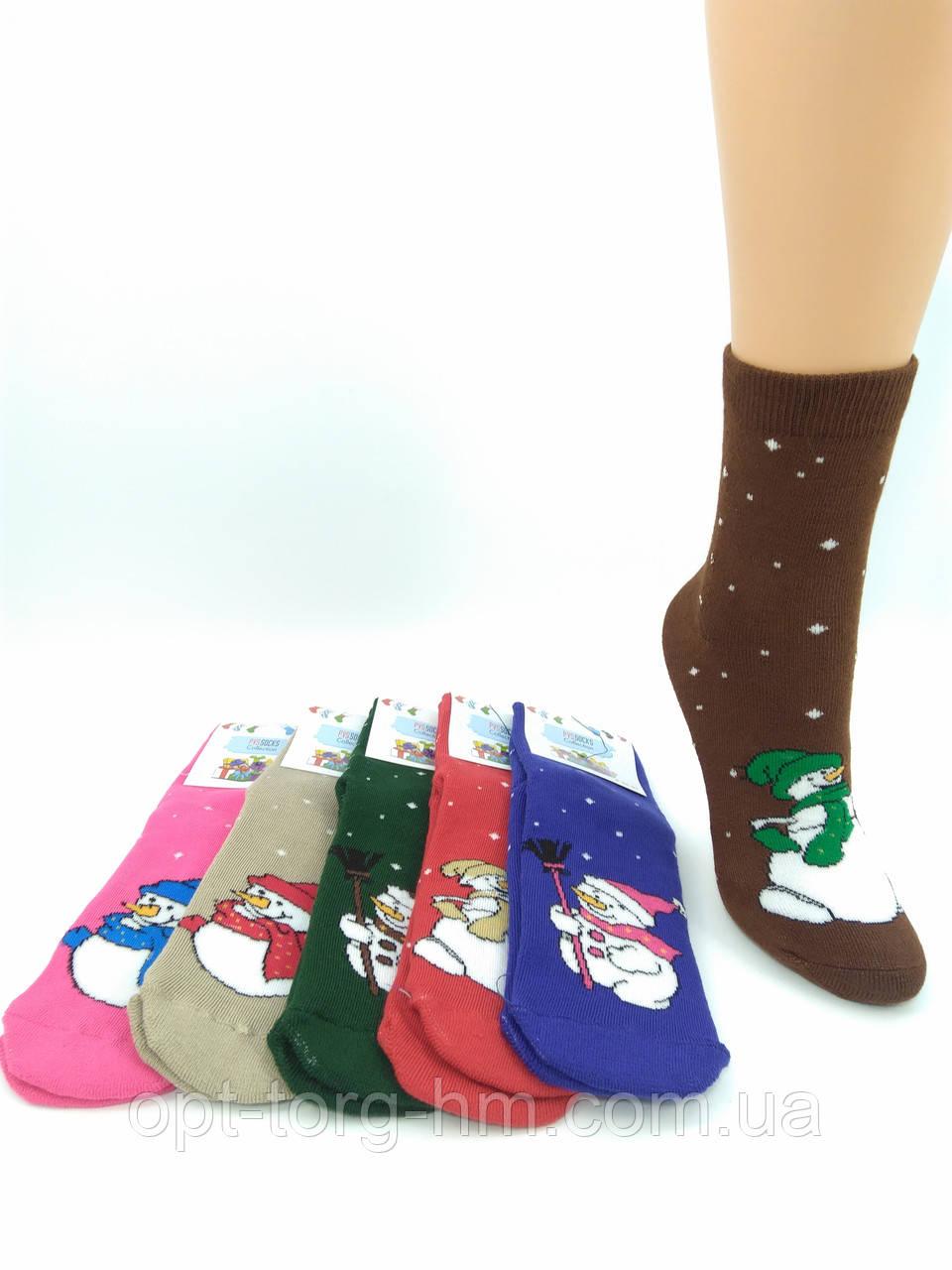 """Махровые женские носки """" PVS"""" Снеговики. Размер 35-41 обувь"""