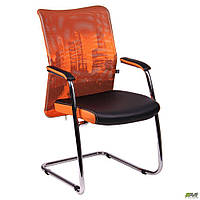 Крісло Аеро CF хром сидіння Сітка чорна, Zeus 045 Orange/спинка Сітка оранж-Skyline TM AMF